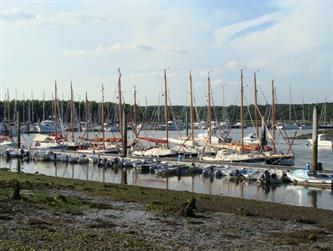Crabber Rally 2015 - The fleet at low tide Bucklers Hard